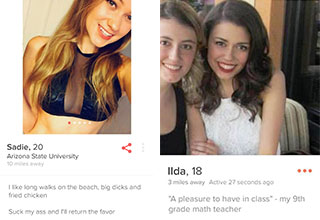 "*Warning: NSFW Themes* Bizarre dating profiles that must be written by nymphomaniac sociopaths. These dirty tinder bios are inspiration out there for anyone who is struggling to make funny tinder bios. <br/><br/>Also check out <a href=""https://www.ebaumsworld.com/pictures/14-girls-on-tinder-who-are-definitely-dtf/84619777/"">14 Girls On Tinder Who Are Definitely DTF</a> , <a href=""https://www.ebaumsworld.com/pictures/these-12-girls-have-the-most-hilariously-funny-tinder-bios/85736792/"">These 12 Girls Have The Most Hilariously Funny Tinder Bios</a> or <a href=""https://www.ebaumsworld.com/pictures/22-tinder-pickup-lines-that-workedsort-of/84723679/"">22 Tinder Pickup Lines That Worked…Sort of</a>."