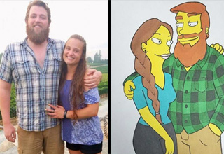 a man wearing flannel shirt standing with his girlfriend wearing a blue top and the simpsons version of themselves he drew