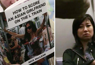 This guy's fake book covers made nosey subway riders wish they hadn't looked.