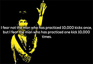 Bruce Lee is the type of dude to kick your ass before giving you a life lesson.