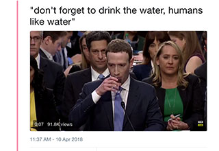 Mark Zuckerburg drinking a glass of water
