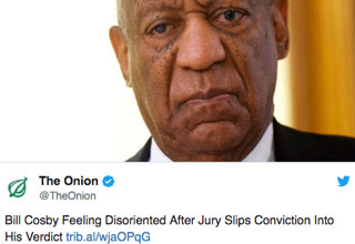 "Bill Cosby was found guilty today on three counts of ""Indecent Assault."" Twitter found out too."