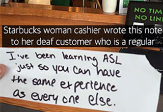 a note from starbucks to an asl costumer, a lady with a surgical mask holding a cat who is also wearing a surgical mask