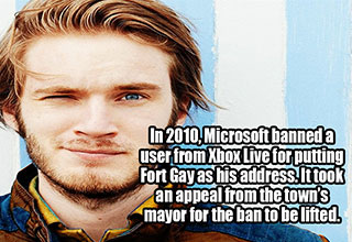 a picture of pewdiepie with a gaming fact