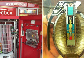Inside Redbox and hand grenade.
