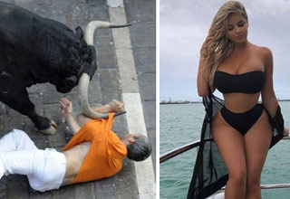 a bull nearly gorging a man in the face and a sexy and curvy blonde woman in black bathing suit