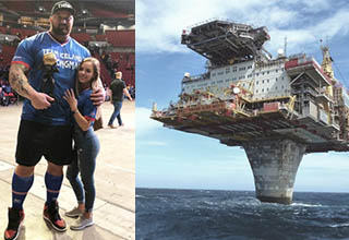 the mountain from game of thrones next to his girlfriend, a building built on top of a pillar in the middle of the ocean