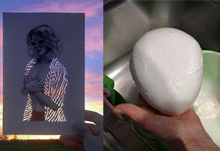 Photo being held up of a lady in front of a sunset, a mozzarella ball being pulled out of water
