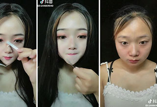 "Asian girls removing their ""sculpted"" faces, and most of them become completely unrecognizable."