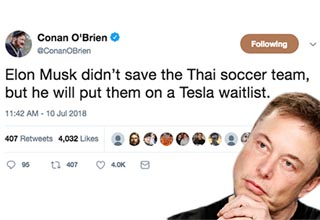 Billionaire Elon Musk is being roasted on Twitter after a submarine he fashioned was too late to do any good. 12 members of a youth soccer team were trapped in a Thai cave. They have all been rescued due to the selfless actions of many including Thai Navy Seals, one of whom sacrificed his life in the process, and definitely not thanks to Elon Musk.