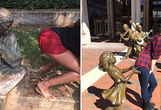 Funny images of people goofing off with statues.
