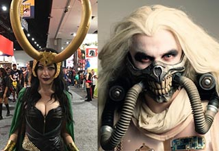 a woman dressed as loki and another person dressed as immortan Joe from mad max fury road