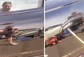 Spider Hiding Under A Car Door Handle