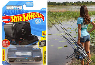 a gopro adapter for a hot wheels track, and a lady holding 4 fishing rods at once