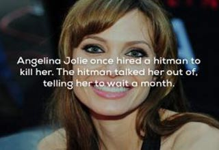 a photo of angelina jolie with text about her once hiring a hitman to kill her