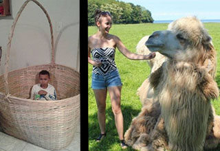 Boy in a huge basket. Girl next to huge camel.