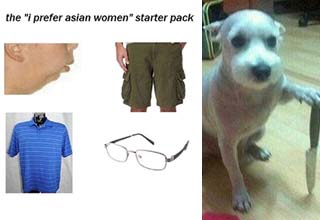 a prefer asian women starter pack and a dog holding a knife