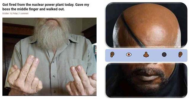 a man flicking off his nuclear power plant job with two middle fingers and a grey beard