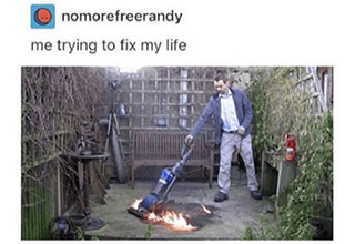 Man vacuuming fire.