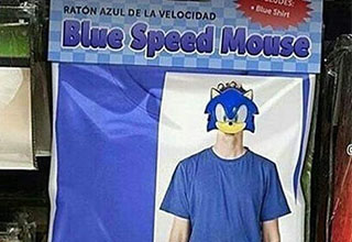 Off brand sonic costume called blue speed mouse
