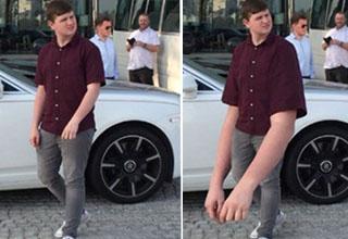 Man posing next to car with normal arms. Man posing next to car with huge arms.
