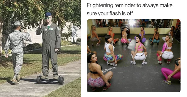 a man in military dress on a hoverboard saluting another soldier and women squatting looking back at a creep who just took a photo with the flash on