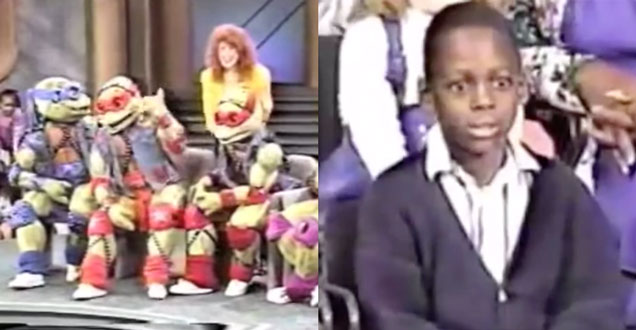 screenshot of the Teenage Mutant Ninja Turtles on Oprah, and a black kid in the audience looking horrified