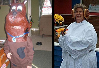 Scary scooby-do diy costume. Bad diy princess leia costume.