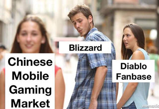"Memes celebrating the horrible move of Blizzard to only release Diablo Immortal on iOS and Android (NOT PC), and then to mock people's outrage. <br/><br/> Update: Here's <a href=""http://www.ebaumsworld.com/pictures/10-more-diablo-immortal-memes-for-those-who-are-pissed-at-blizzard/85807505/"">10 More Diablo Immortal Memes For Those Who Are Pissed At Blizzard</a>"