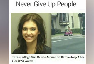 a meme with a girl who guy arrested for DUI driving a babrie jeep power wheel