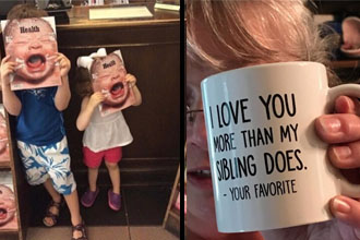 Kids pretending to be crying, girl holding a cup that says she loves her parents more.