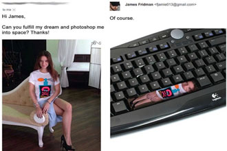 A girl wanted to go to space so she was photshopped on a space bar.