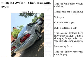 Guy Decides to Sell His Old Toyota and Creates a Hilarious