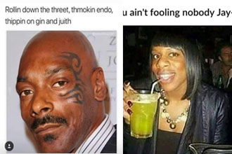 Snoop Dogg and Mike Tyson mashup and a girl looking like Jay-Z.