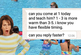 a mom infront of a pool swim class with texts laid on top