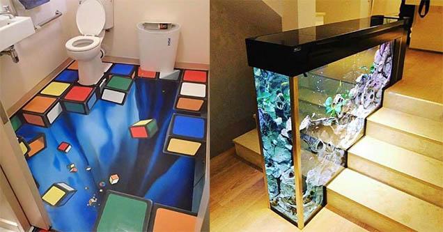 Cool bathroom floor with blocks being sucked into the floor. Aquarium in stairs.