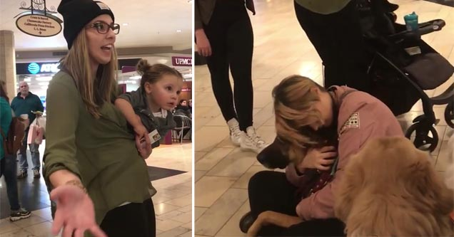 entitled mom freak out video | a raging mom holding her daughter and pointing toward the camera, a lady sitting with the service dogs