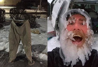 upright frozen pants. man with frozen face.