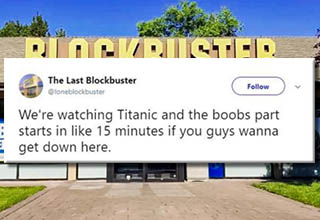 Blockbuster may be on it's death bed but doesn't mean it can't bang out some tier 1 tweets.