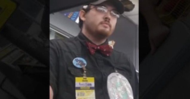 a dollar general employee wearing all black with a yellow name tag and a brony patch | angry father yells at an employee