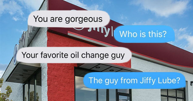 a text convo on top of a jiffy lube building