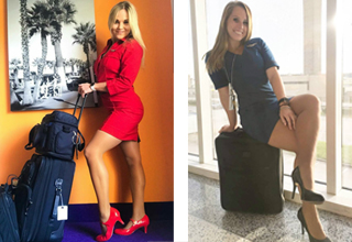 a sexy blonde haired flight attendant in all red and a blonde flight attendant sitting on a piece of luggage