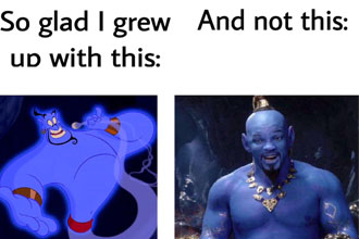 It's tough to pull off the whole blue look like pretty much just the aliens from avatar can pull it off, so it's no surprise that Will Smith can't pull it off.