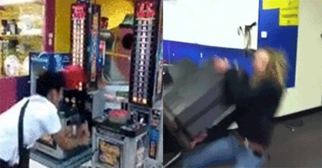 Man hitting himself in the head. woman falling with TV.