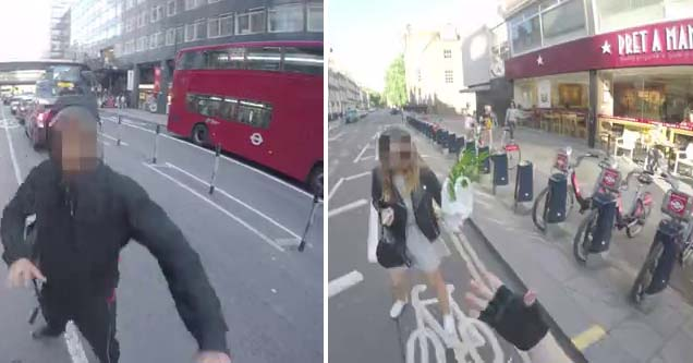 a man with a censored face and a woman with a censored face on the streets of london