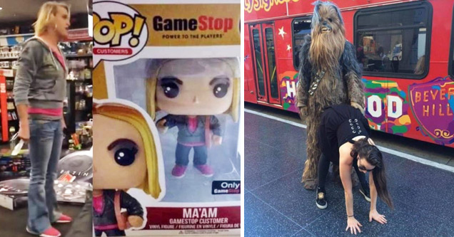 a photo of the trans woman who had a melt down at gamestop and a collectible toy version of her a girl bending over twerking in front of chewbacca