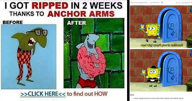meme about anchor arms and spongebob wearing a dress.