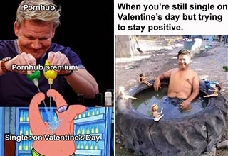 "Put the lube down and wipe those tears away. This dump of funny and inappropriate Valentine's Day memes, cards, and more will help you ride out this potentially sad and lonely holiday.  <br> <br> Want more? Check out <a href=""http://ebaumsworld.com/pictures/64-valentines-day-cards-signs-and-memes/83089176/"" target=new>64 Valentine's Day Signs, Cards and Memes</a> <br> <a href=""http://ebaumsworld.com/pictures/24-punny-valentines-day-cards-for-that-special-someone/84925179/"" target=new>24 Punny Valentine's Day Cards for that Special Someone</a> <br> <a href=""https://www.ebaumsworld.com/pictures/25-valentines-day-pics-and-memes-to-remind-you-of-your-loneliness/85877044/"" target=new>24 Valentine's Day Pics And Memes To Remind You Of Your Loneliness</a>"