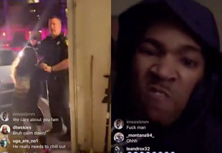 Screenshots from Instagram live where a guy gets into a shootout with the cops