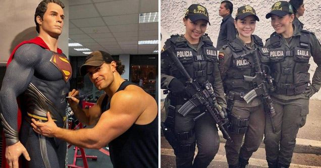 actor henry cavill who played superman hugging a statue of superman and a bunch of attractive female police officers on a tactical team